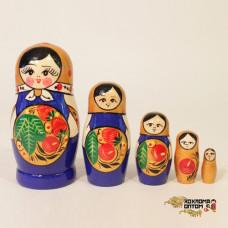 """LHM10145 Матрешка """"Хохлома синяя"""" 5 кукольная, Хохлома"""