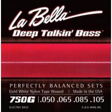 750G Комплект струн для бас-гитары, белый нейлон, 50-105, La Bella