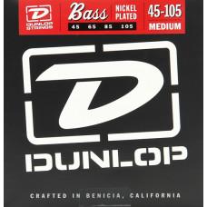 2PDBN45105 Струны для бас-гитары, 2 комплекта, никелированные, Medium Light, 45-105, Dunlop