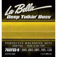760FGS-B Gold Flats Комплект струн для 5-струнной бас-гитары, 45-128, сплав бронзы, La Bella