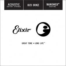 15125 Nanoweb Отдельная струна для акустической гитары, бронза 80/20, .025, Elixir
