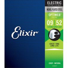 19007 Optiweb Комплект струн для 7-струнной электрогитары, никел.сталь, Super Light 9-52, Elixir