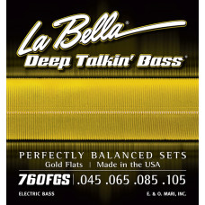 760FGS Gold Flats Комплект струн для бас-гитары, 45-105, сплав бронзы, Standart, La Bella