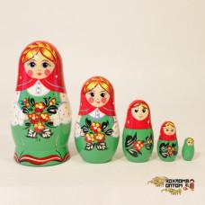 "LHM10134 Матрешка ""Незабудка красный платок"" 5 кукольная, Хохлома"