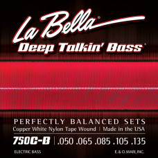 750C-B Copper White Nylon Комплект струн для 5-струнной бас-гитары, медь/б.нейлон, 50-135, La Bella