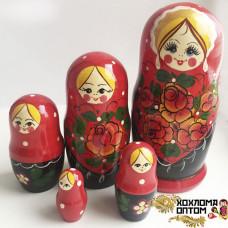 """LHM10162 Матрешка """"Вятка красная"""" 5 кукольная, Хохлома"""