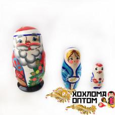 """LHM10183 Матрешка новогодняя """"Дед мороз"""" 3 кукольная, Хохлома"""