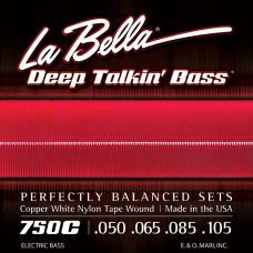 750C Copper White Nylon Комплект струн для бас-гитары, медь/белый нейлон, 50-105, La Bella