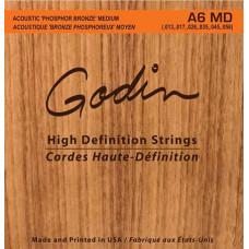 009336 A6 MD Комплект струн для акустической гитары, фосфорная бронза, 13-56, Godin