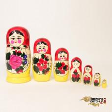 LHM10103 Матрешка традиционная 7 кукольная, Хохлома