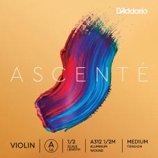 A312-1/2M Ascente Отдельная струна A для скрипки 1/2, среднее натяжение, D'Addario