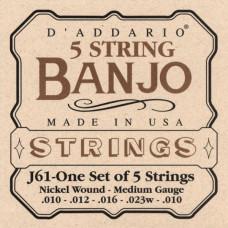 D'ADDARIO J61 - струны для банджо, 5 String and Tenor Banjo/Medium/Nickel