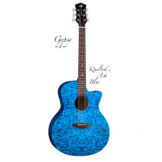 """LUNA Gypsy QA TBL - акустическая гитара с вырезом,ель,цвет синий,фактура """"ясень"""""""